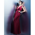 TS Couture Formal Evening Dress - Burgundy Sheath/Column V-neck Floor-length Satin Chiffon Special Occasion Dresses