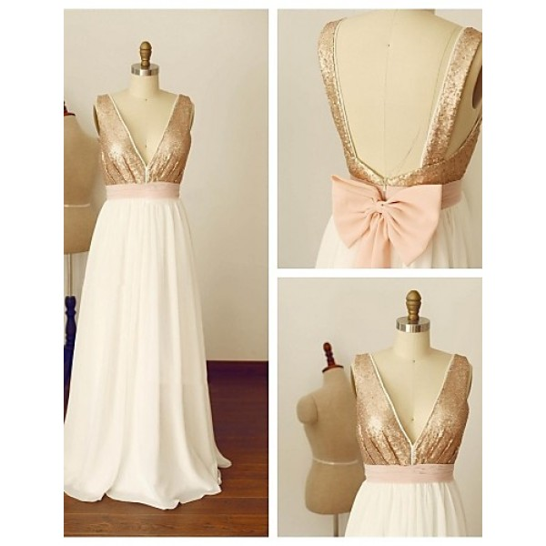 Formal Evening Dress - A-line V-neck Floor-length Chiffon / Sequined Special Occasion Dresses
