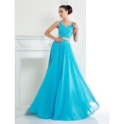 Formal Evening Dress Pool Plus Sizes Petite A Line Straps Floor Length Chiffon