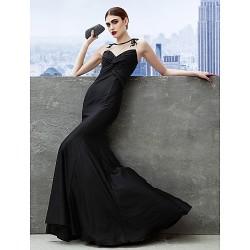 Formal Evening Dress Black Trumpet Mermaid Scoop Sweep Brush Train Jersey