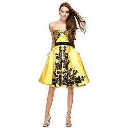 Cocktail Party Dress Daffodil A Line Sweetheart Knee Length Lace Satin