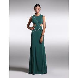 Formal Evening Dress Dark Green Plus Sizes Petite Sheath Column Jewel Floor Length Chiffon