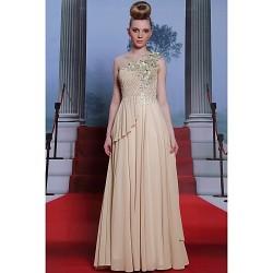 Formal Evening Dress - Champagne Plus Sizes A-line / Princess One Shoulder Floor-length