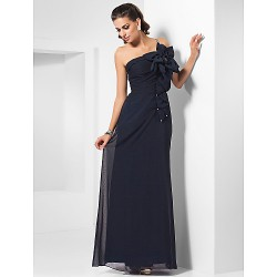 Formal Evening / Military Ball Dress - Dark Navy Plus Sizes / Petite Sheath/Column One Shoulder Floor-length Chiffon