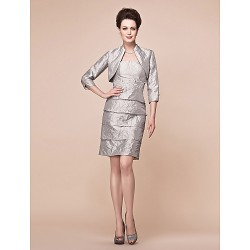 Sheath/Column Plus Sizes / Petite Mother of the Bride Dress - Silver Knee-length 3/4 Length Sleeve Taffeta