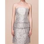 Sheath/Column Plus Sizes / Petite Mother of the Bride Dress - Silver Knee-length 3/4 Length Sleeve Taffeta Mother Of The Bride Dresses