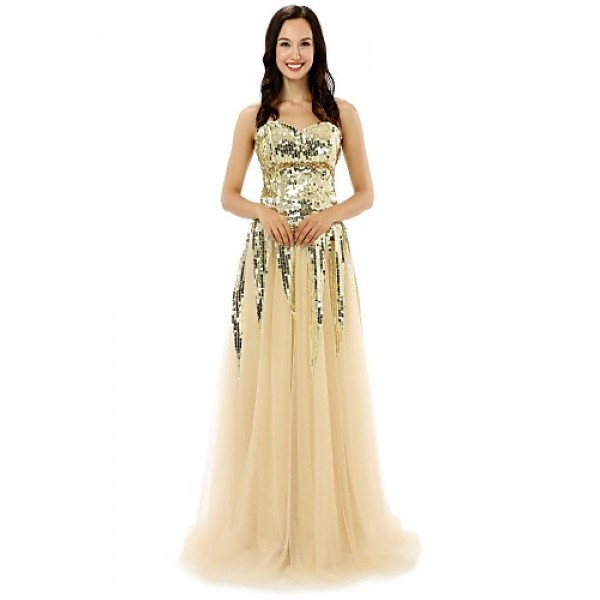 Formal Evening Dress - Champagne A-line Sweetheart Floor-length Tulle Special Occasion Dresses