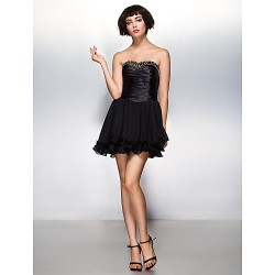 Cocktail Party Dress Black A Line Sweetheart Short Mini Chiffon Stretch Satin