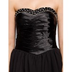 TS Couture Cocktail Party Dress - Black A-line Sweetheart Short/Mini Chiffon / Stretch Satin Special Occasion Dresses