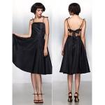 Cocktail Party Dress - Black A-line Spaghetti Straps Knee-length Taffeta Special Occasion Dresses