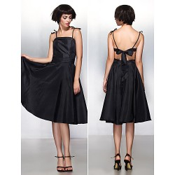 Cocktail Party Dress Black A Line Spaghetti Straps Knee Length Taffeta