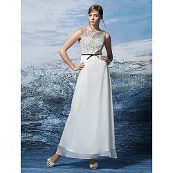 Formal Evening Dress Multi Color Plus Sizes Petite A Line Jewel Ankle Length Chiffon Lace