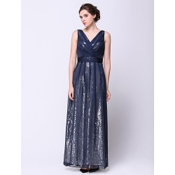 Formal Evening Dress Dark Navy A Line V Neck Ankle Length Chiffon