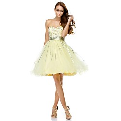 Cocktail Party Dress Daffodil A Line Sweetheart Knee Length Tulle
