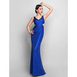 Formal Evening Military Ball Dress Royal Blue Plus Sizes Petite Trumpet Mermaid V Neck Floor Length Jersey