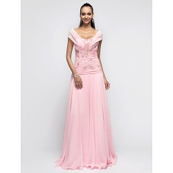 Formal Evening / Prom / Military Ball Dress - Candy Pink Plus Sizes / Petite A-line / Princess Halter Floor-length Chiffon