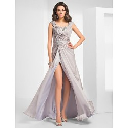Formal Evening Military Ball Dress Silver Plus Sizes Petite Sheath Column Straps Floor Length Chiffon