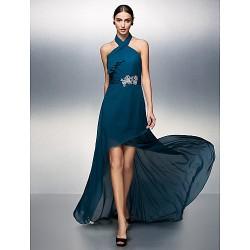 Formal Evening Dress Ink Blue Plus Sizes Petite Sheath Column Halter Asymmetrical Chiffon