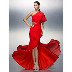 Prom / Formal Evening Dress - Ruby Plus Sizes / Petite Sheath/Column One Shoulder Asymmetrical Chiffon