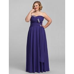 Formal Evening / Prom / Military Ball Dress - Regency Plus Sizes / Petite A-line Sweetheart / Strapless Floor-length Chiffon