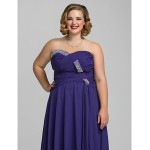 Formal Evening / Prom / Military Ball Dress - Regency Plus Sizes / Petite A-line Sweetheart / Strapless Floor-length Chiffon Special Occasion Dresses