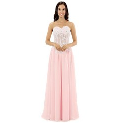 Formal Evening Dress - Blushing Pink A-line Sweetheart Sweep/Brush Train Chiffon