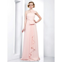 Formal Evening Prom Military Ball Dress Pearl Pink Plus Sizes Petite Sheath Column One Shoulder Spaghetti Straps Floor Length