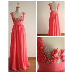 Formal Evening Dress - Watermelon A-line Straps Sweep/Brush Train Chiffon