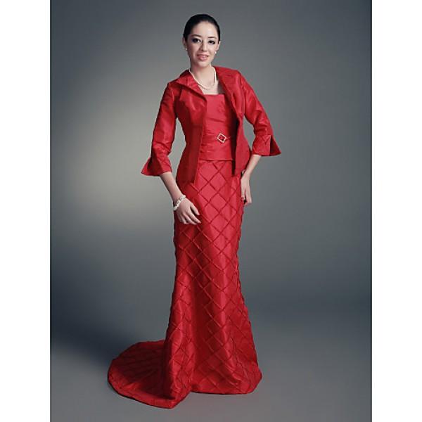 Trumpet/Mermaid Plus Sizes / Petite Mother of the Bride Dress - Ruby Sweep/Brush Train 3/4 Length Sleeve Taffeta Mother Of The Bride Dresses