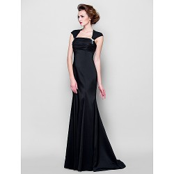 Trumpet Mermaid Plus Sizes Petite Mother Of The Bride Dress Black Sweep Brush Train Sleeveless Stretch Satin