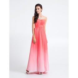 Floor Length Chiffon Bridesmaid Dress Watermelon Plus Sizes Petite Sheath Column Strapless
