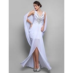 Cocktail Party Dress - White Plus Sizes / Petite Sheath/Column V-neck Floor-length Chiffon