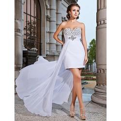 Cocktail Party / Formal Evening Dress - White Plus Sizes / Petite Sheath/Column Strapless / Sweetheart Short/Mini / Asymmetrical Chiffon