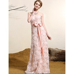 Formal Evening Dress Pearl Pink Plus Sizes A Line Strapless Floor Length Lace
