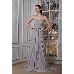 Formal Evening Dress - Silver Plus Sizes / Petite A-line Sweetheart Floor-length Chiffon