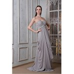 Formal Evening Dress - Silver Plus Sizes / Petite A-line Sweetheart Floor-length Chiffon Special Occasion Dresses