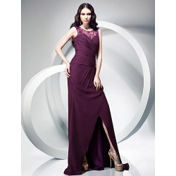 Formal Evening Military Ball Dress Grape Plus Sizes Petite Sheath Column Jewel Sweep Brush Train Chiffon