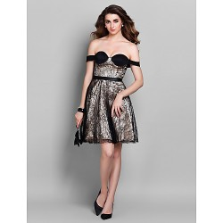 Cocktail Party Holiday Prom Dress Champagne Plus Sizes Petite A Line Off The Shoulder Short Mini Lace Stretch Satin