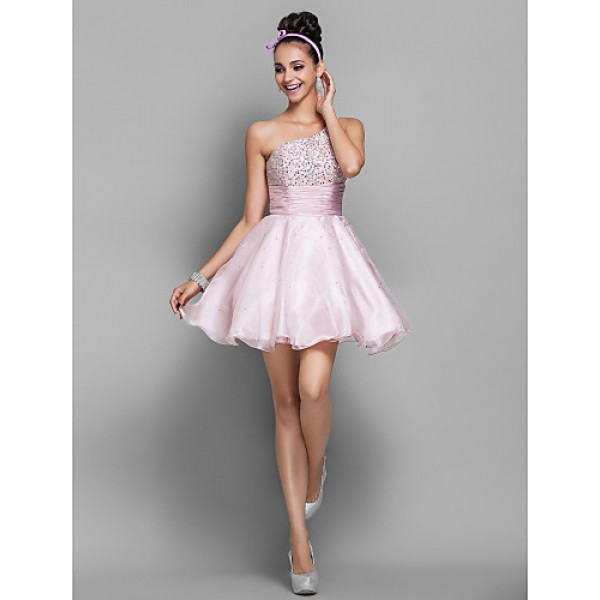 Cocktail Party / Homecoming / Prom / Holiday Dress - Candy Pink Plus Sizes / Petite A-line / Princess One Shoulder Short/Mini Organza Special Occasion Dresses