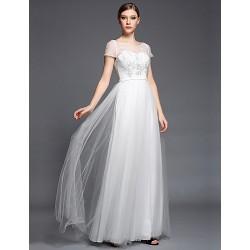 Formal Evening Dress - Ivory A-line Bateau Floor-length Tulle / Charmeuse / Satin Chiffon