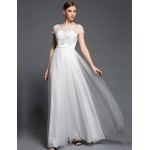Formal Evening Dress - Ivory A-line Bateau Floor-length Tulle / Charmeuse / Satin Chiffon Special Occasion Dresses