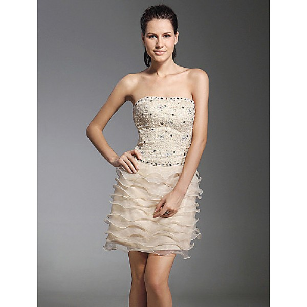 TS Couture Cocktail Party / Holiday Dress - Champagne Plus Sizes / Petite Sheath/Column Strapless Short/Mini Organza / Lace Special Occasion Dresses