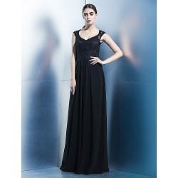Formal Evening Dress Black Sheath Column V Neck Floor Length Chiffon Lace