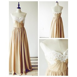 Formal Evening Dress Champagne A Line Sweetheart Floor Length Chiffon Lace