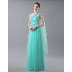 Formal Evening Dress Sky Blue A Line One Shoulder Floor Length Tulle