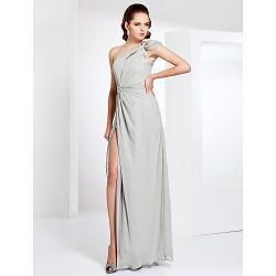 Formal Evening Military Ball Dress Silver Plus Sizes Petite Sheath Column One Shoulder Floor Length Chiffon Stretch Satin