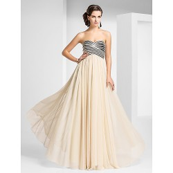 Prom Formal Evening Military Ball Dress Champagne Plus Sizes Petite Sheath Column Strapless Sweetheart Floor Length Tulle