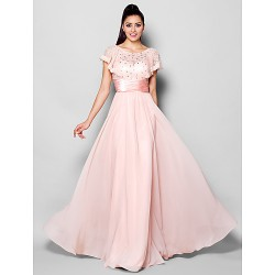 Formal Evening Dress Blushing Pink Plus Sizes Petite A Line Jewel Floor Length Chiffon