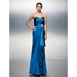 Prom Formal Evening Dress Ocean Blue Plus Sizes Petite Sheath Column Sweetheart Floor Length Charmeuse