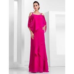 Formal Evening Military Ball Dress Fuchsia Plus Sizes Petite Sheath Column Spaghetti Straps Floor Length Chiffon